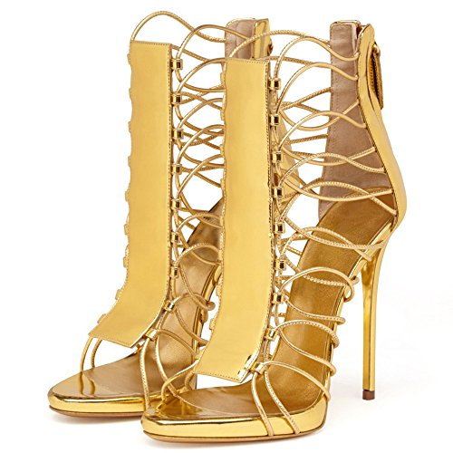 Emiki Gold Women's Zip Stilettos Sandals Thin Back Toe Shoes Ankle Boots Open Strappy Customized Design Heels Gladiator rr7daq
