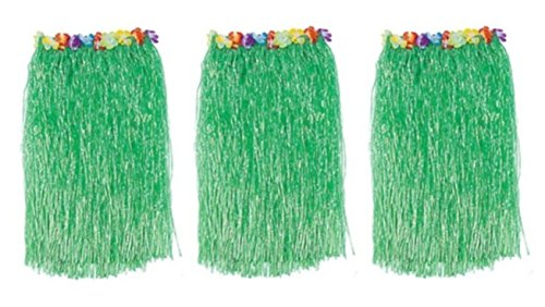 Feature Dancer Costumes (Pack of 3 Adult Floral Waistbands Green Hawaiian Hula Dancer Grass 23.6'' Hawaiian Luau Hibiscus Faux Flowers Hula Grass Skirt for Costume Party(3 Pcs))
