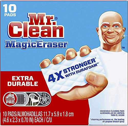 Mr. Clean Magic Eraser Extra Durable, Bathroom, Shower, and Oven Cleaner, Cleaning Pads with Durafoam, 10 Count