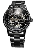 Carrie Hughes Men's Steampunk Automatic Watch Self-winding Skeleton Mechanical Stainless Steel CH88226GB