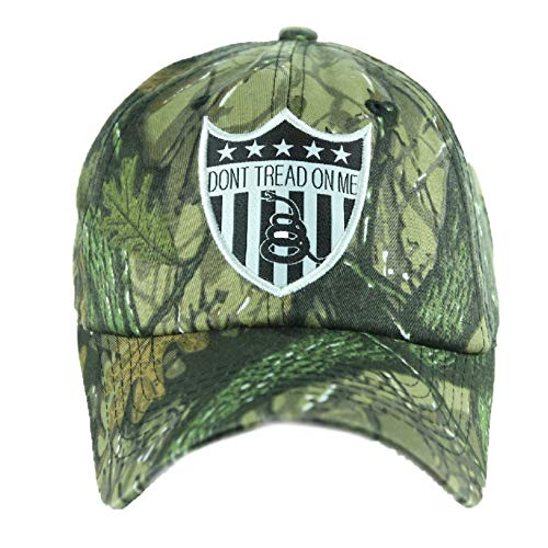 Dont Tread ON ME Baseball Cap Rattlesnake Gadsden Camo Caps Adjustable Military Hats (Real Tree - Green)