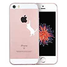 iPhone SE Case, SwiftBox Clear Case with Design for iPhone 5/5S/SE with Tempered Glass Screen Protector (White Cat)