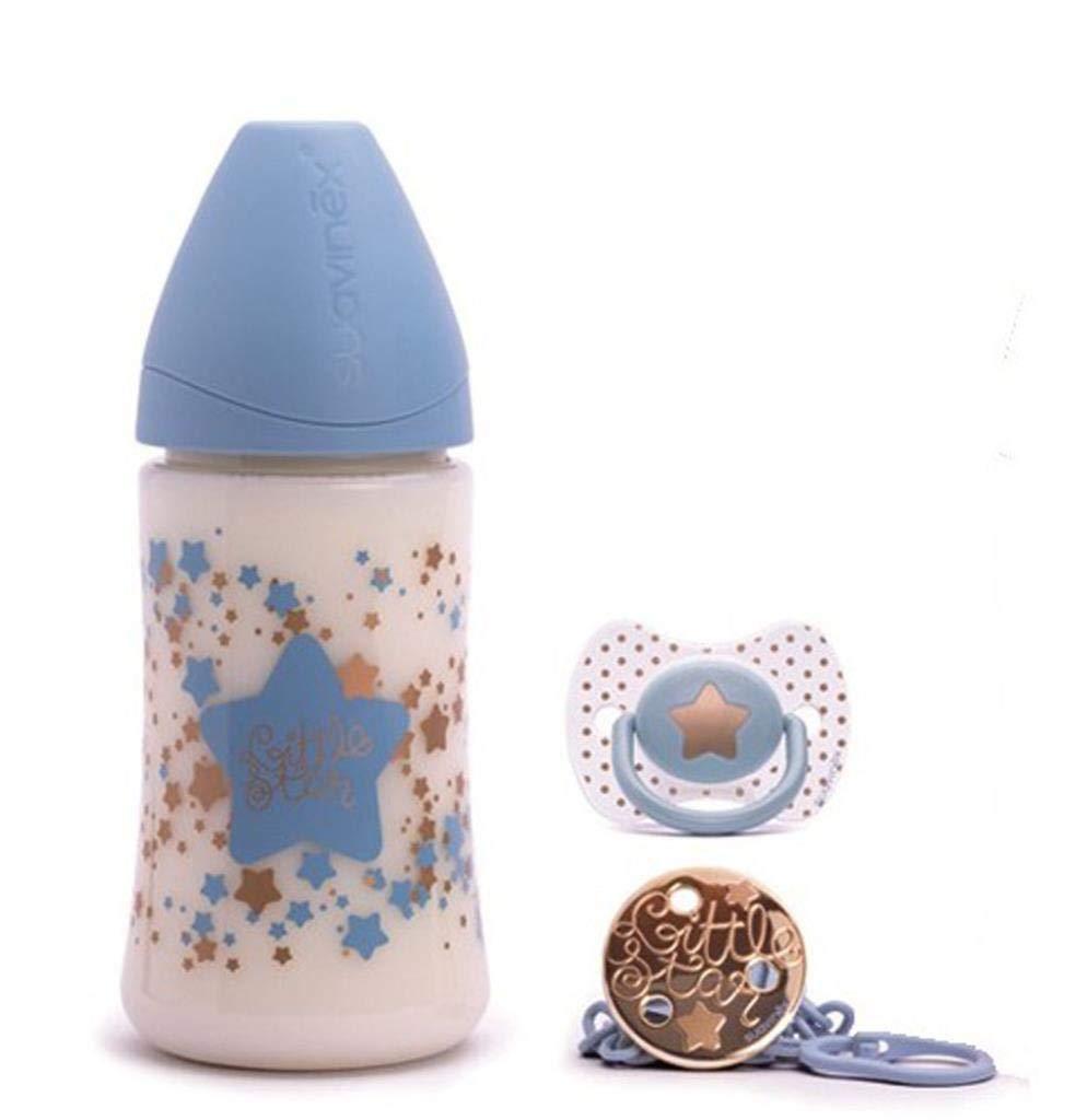 Suavinex Set de Biberon 270 ml Attache-Sucette Bleu Sucette 0-4 Mois