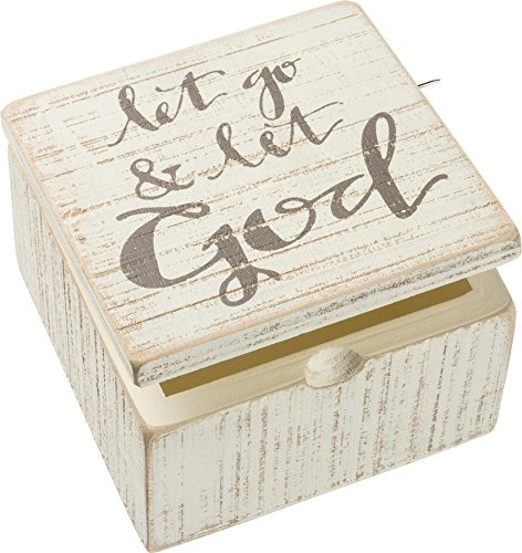 "Primitives by Kathy Prayer Box, ""Let Go and Let God"", White, 4"" x 4"" x 2.75"