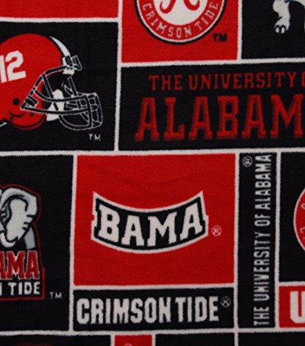 (College University of Alabama Crimson Tide 012 Print Fleece Fabric By the Yard )