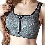 SMGHK Women Chest Open Zipper Sporting Bra Shockproof Fitness Underwear Raceback Bras Gray 85A