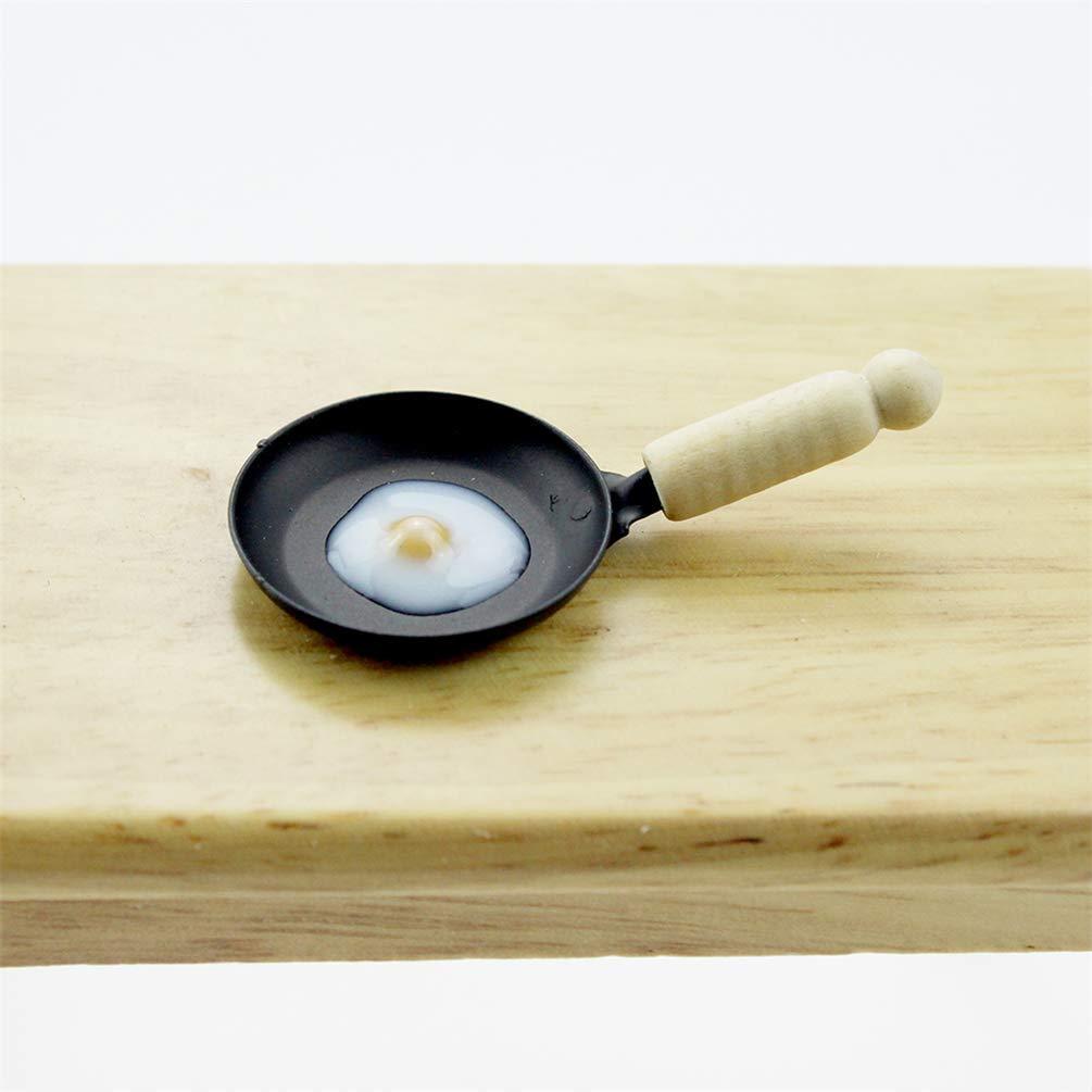 als Spielen Geschenk Spielzeug Carry stone Premium-Qualit/ät Miniatur Spiegelei Pfanne Modell Puppenhaus K/üche Zubeh/ör Kinder so tun