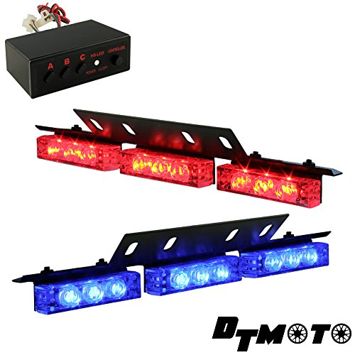 DT MOTO™ Blue Red 18x LED Police Vehicle Deck Grille Deck Dash Strobe Warning Lights - 1 set