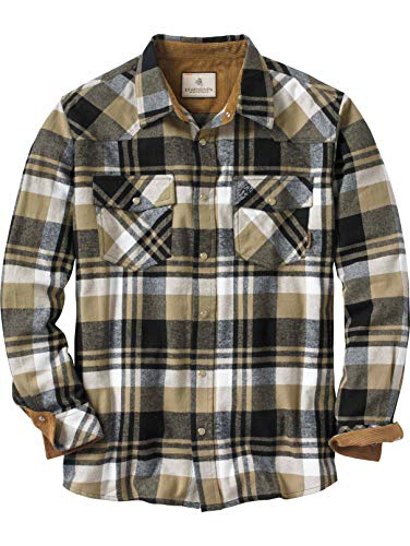 Legendary Whitetails Men's Flannel Shotgun Black Plaid Large