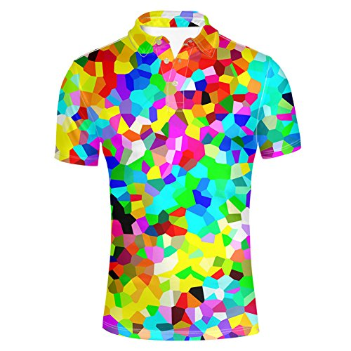 HUGS IDEA Geometric Designs Men's Jersey Polos T-Shirt Fashion Casual Slim Fit Button Up Shirts Summer Short ()