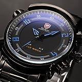 SHARK Rare Fashion Stainless Steel Quartz Led Display Men's Sport Wrist Watch SH065