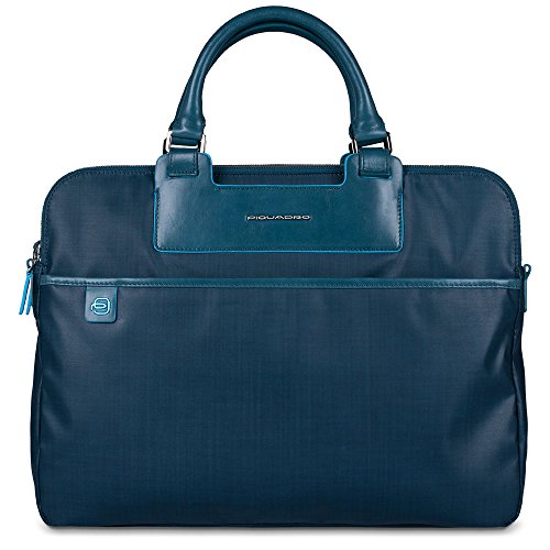 Piquadro Briefcase with Three Compartments and iPad Mini Organizer Panel, RAF Blue, One Size by Piquadro
