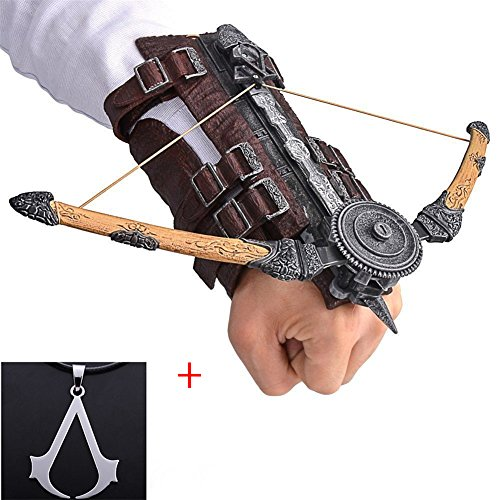 Assassin's Creed V Brown Arrow Hidden Blade Brotherhood Ezio Auditore Gauntlet Cosplay Replica Ubisoft Assassin's Creed Unity Wine + Assassin's Creed Necklace (with Silver necklace)