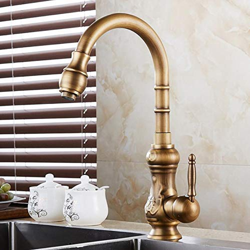 A Oudan Kitchen Sink Faucets Solid Brass Antique Bronze Single Handle Kitchen Basin Faucets Deck Mounted Hot&Cold Water Mix Tap Hj-1221F,A (color   A, Size   -)