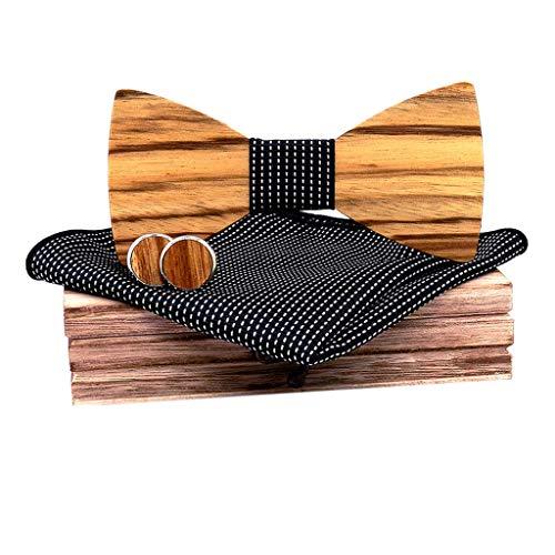 Glove Cufflinks - CapsA Wooden Bowtie Mens Bow Tie for Anniversary Birthday Wedding Groomsmen Vintage Style Apparel Novelty Accessory with Matching Pocket Square Men's Cufflinks Lapel Flower Set (Black)