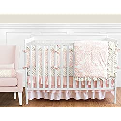 Blush Pink White Damask and Gold Polka Dot Amelia Flower for girls 9 Piece Crib Bedding Set with Bumper