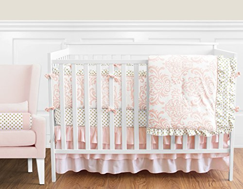 Blush Pink White Damask and Gold Polka Dot Amelia Baby Girls 9 Piece Crib Bedding Set with (Crib Bedding Sets For Girls Pink)