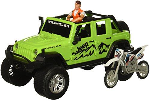 Tree House Kids Jeep with Bike Play Set Jeep Bike Figure, Neon Green, 14.75
