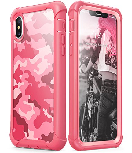 - i-Blason Case Designed for iPhone X 2017/ iPhone Xs 2018, [Ares] Full-Body Rugged Clear Bumper Case with Built-in Screen Protector (Camo/Pink)
