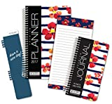 "Fashion Daily Planner Set - Includes 14 Month 2017 Calendar Year (5.5"" x 8"") -- Bonus Clip-in Bookmark -- 3.5"" x 6.5"" Bonus Journal -- 4""x8"" Bonus Notepad [Stripes - Flowers]"