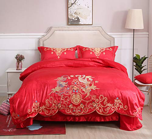 (I-MART Queen Size Chinese Traditional Red Sheet Asian Bedding with Dragon and Phoenix Bird Embroidery Duvet Cover Set 4 Pcs )