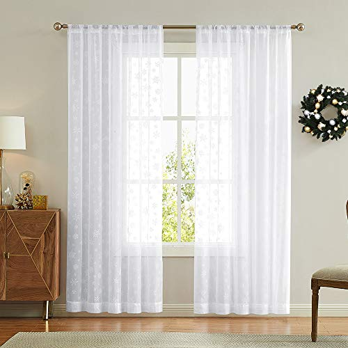 2 Panel White 84 inches Long Sheer Curtains with Snowflake Design Snow Winter Christmas Decor, Rod Pocket Window Curtains (Sheers Lace White)