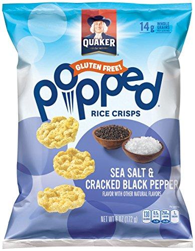 Quaker Popped Rice Crisp Snacks, Gluten Free, Sea Salt & Cracked Pepper, 6.06oz Bags (Pack of 6 Bags)