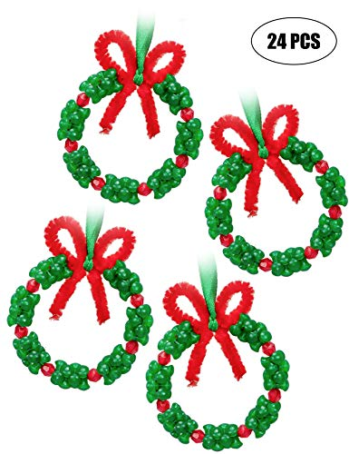 jollylife Christmas Beaded Ornament Kit - Xmas Party Craft Wreath Holiday Tree Decorations Kids Supplies 24PCS (For Kids Xmas Party Ideas)