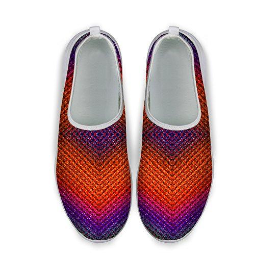 FOR U DESIGNS Colorful Stripe Print Mesh Comfortable Womens Walking Running Shoes Red B IpGJjMJ