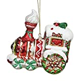 Northlight Peppermint Twist Red White and Green Glittered Glass Candy Cane Train Christmas Ornament, 4.25'