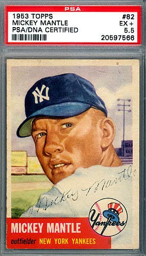 Mickey Mantle Autographed Signed 1953 Topps Card 82 New York Yankees Vintage 1953 Era Signature Card Graded 55 Psadna Certified
