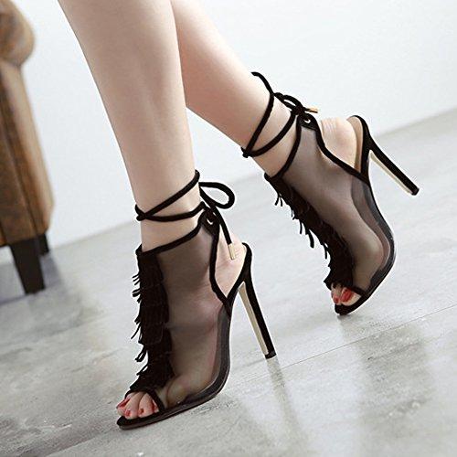 Fereshte Donna Elegante Peep-toe Nappa Traslucido Posteriore In Mesh Sandalo Con Cinturino Alla Caviglia Con Tacco Alto Nero