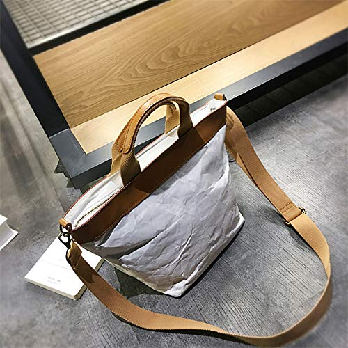 Leather Fashion Washable Paper Lightweight QTKJ Tote Bag Environmental Protection Zipper Handbag Straps With Kraft q7a6qF