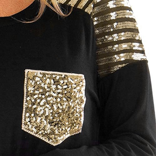 Easytoy Women Casual Long Sleeve Sequined Stitching Pocket Irregular Tops Blouse (Black, L) by Easytoy (Image #6)