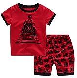 Summer Little Boys' Cartoon Car Pattern Short Sleeve Crew Neck Pajamas Sets