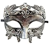 Coolwife Mens Masquerade Mask Greek Roman Party Mask Mardi Gras Halloween Mask (C Silver Black)