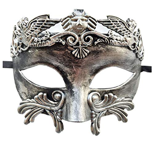 (Coolwife Mens Masquerade Mask Greek Roman Party Mask Mardi Gras Halloween Mask (C Silver)