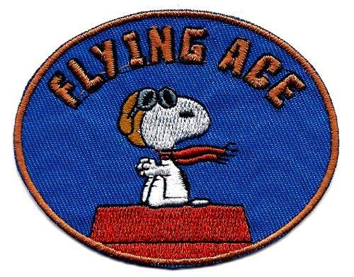 Snoopy pilot flying ace goggles scarf sitting on red dog house Embroidered Peanuts Iron On / Sew On Patch ()