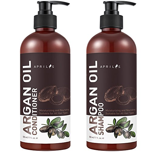 Aprilis Moroccan Argan Oil Shampoo and Conditioner Set, Vitamin Enriched & Volumizing Treatment for Hair Loss, Damage, Thinning and Regrowth for Men & Women, 17 fl. oz. Each (Shampoo Conditioner Volumizing)