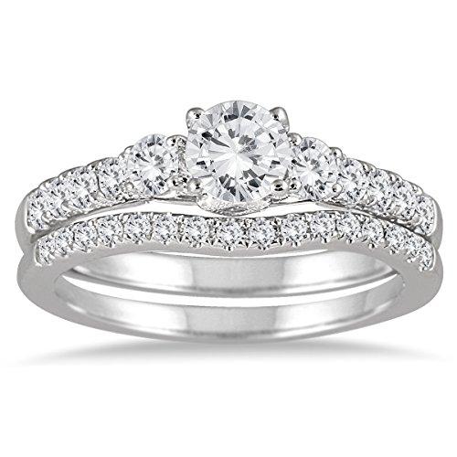 1 1/10 Carat Diamond Bridal Set in 14K White Gold
