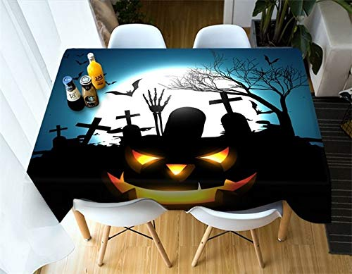 RubyShopUU Cartoon Halloween Decor Tablecloth Square Rectangle Round Table Overlays Home Outdoor Party Decorations Household Items -