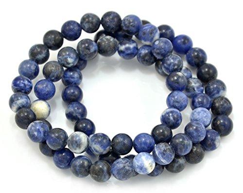 Paialco Set of 3 Sodalite Gemstone Elastic Bead Bracelet Bead Size 10mm (Sodalite Gemstone Bracelet)