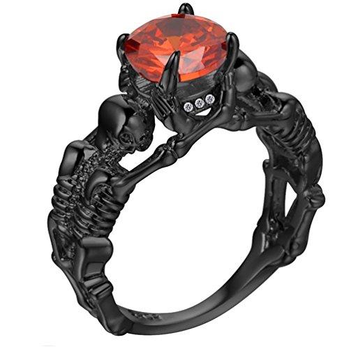 Anillo de hueso de calavera para hombre y mujer, diamantes de imitación, anillo de hueso para Halloween Punk, plateado,...
