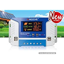 20 Amp PWM Solar Panel Regulator Charge Controller with LCD Display USB Port DC 12V-24V Input/Output
