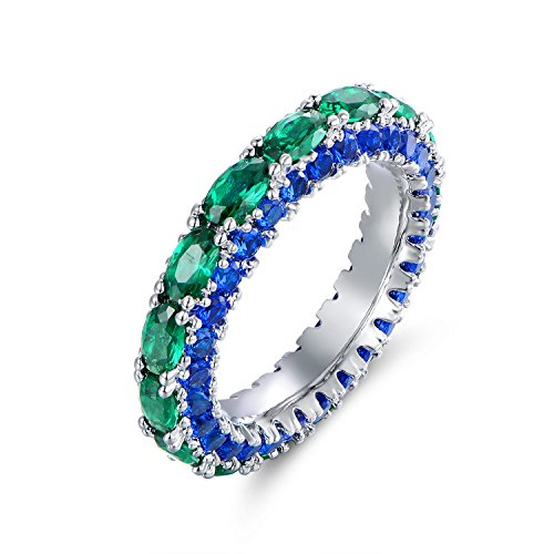 (Barzel Rhodium Plated Created Emerald & Created Sapphire Three Row Ring (8))