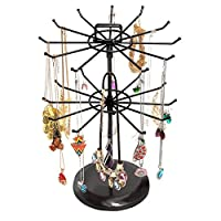 MyGift Rotating Metal Jewelry Organizer Tower Necklace Tree Bracelet Display Stand w/Hairclip Holder