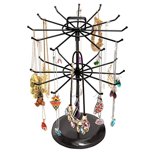 (MyGift Black Metal Jewelry Organizer Tower Necklace Tree Bracelet Display Stand w/Hairclip Holder)