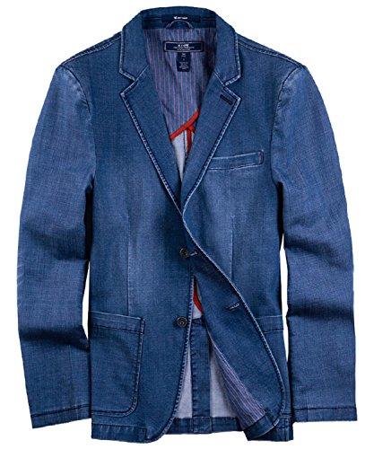 Mooncolour Men's Classic Washed Denim 2 Buttons Jacket Suit Blazer Back Slit