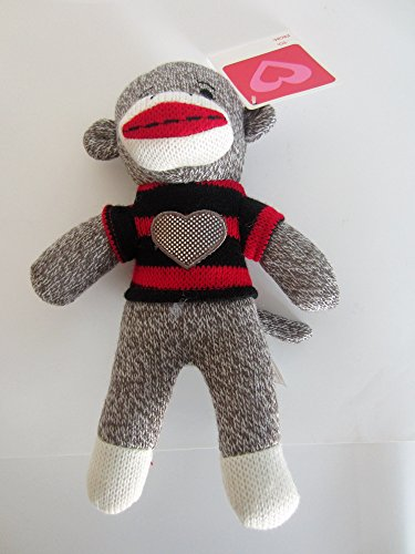 "DAN DEE 9"" BROWN SOCK MONKEY PLUSH WITH RED & BLACK STRIPE SWEATER WITH HEART ON IT"