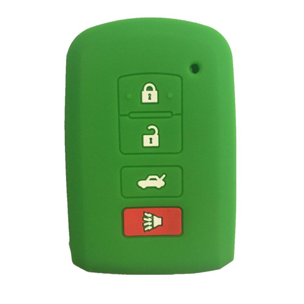 red stitch MJKEY Genuine 4 Buttons Leather Smart Remote Key Fob Holder Key Case Cover For TOYOTA Highlander Corolla Avalon Camry RAV4 HYQ14FBA